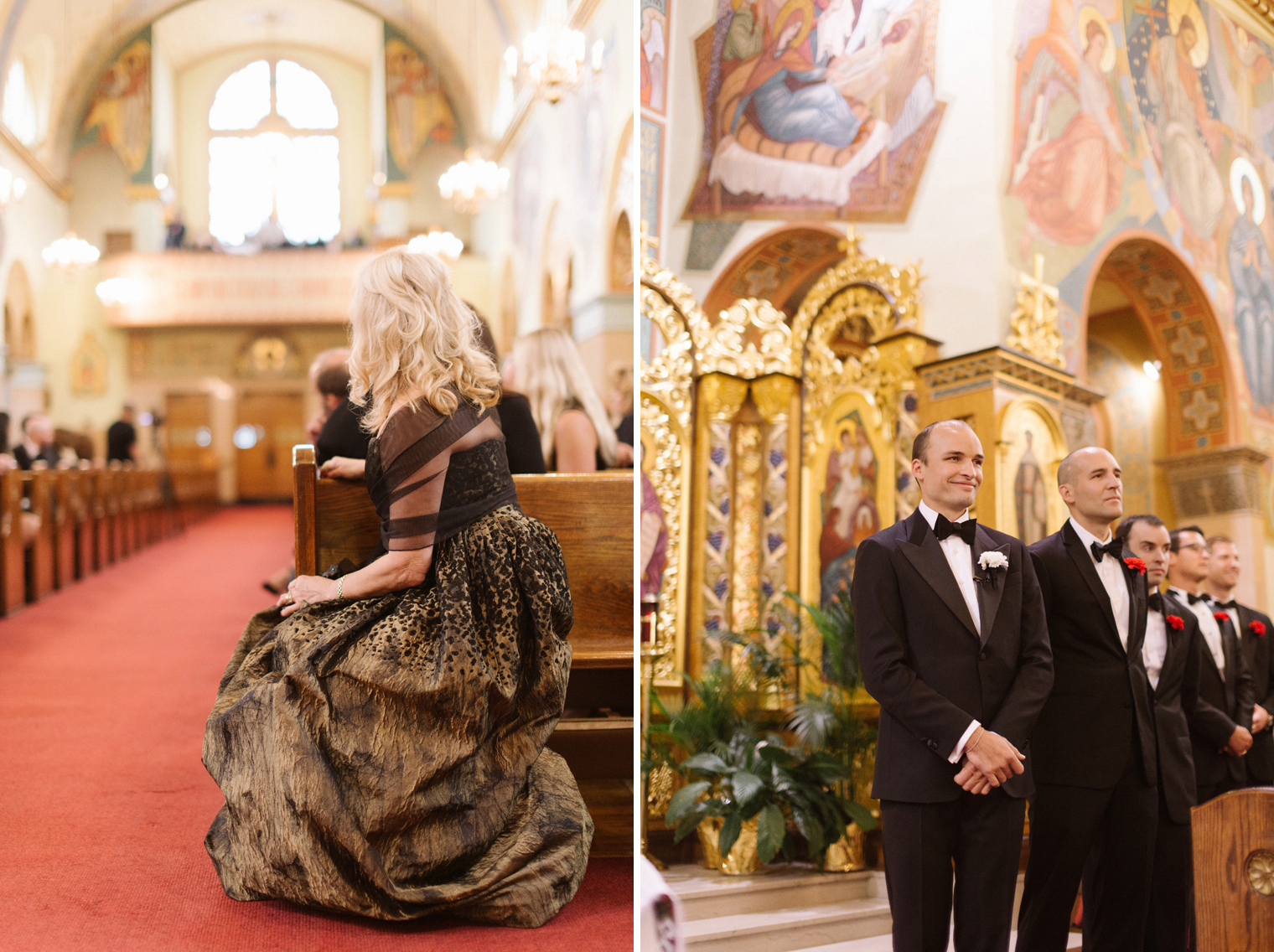 Mother of the bride and the groom watch for the bride coming down the aisle during a Ukrainian Orthodox Wedding Ceremony in Hamtramck Michigan by photographer Heather Jowett.