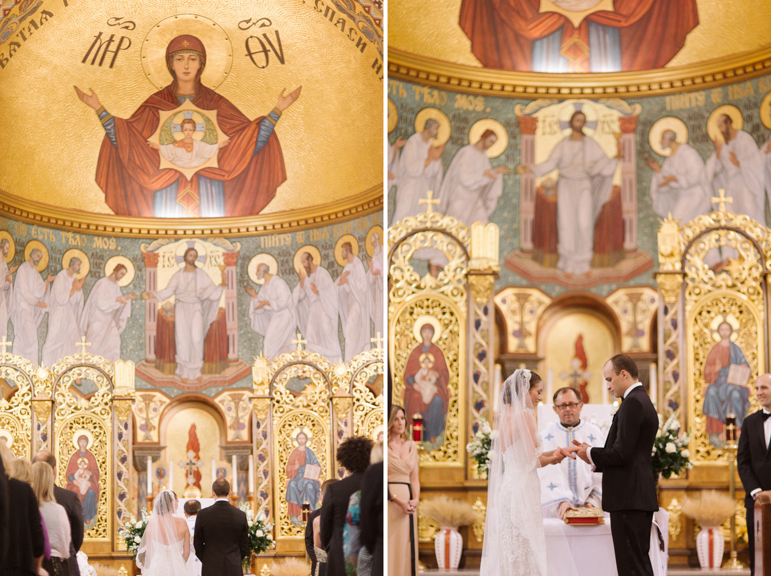 The bride and groom exchange rings during a Ukrainian Orthodox Wedding Ceremony in Hamtramck Michigan by photographer Heather Jowett.