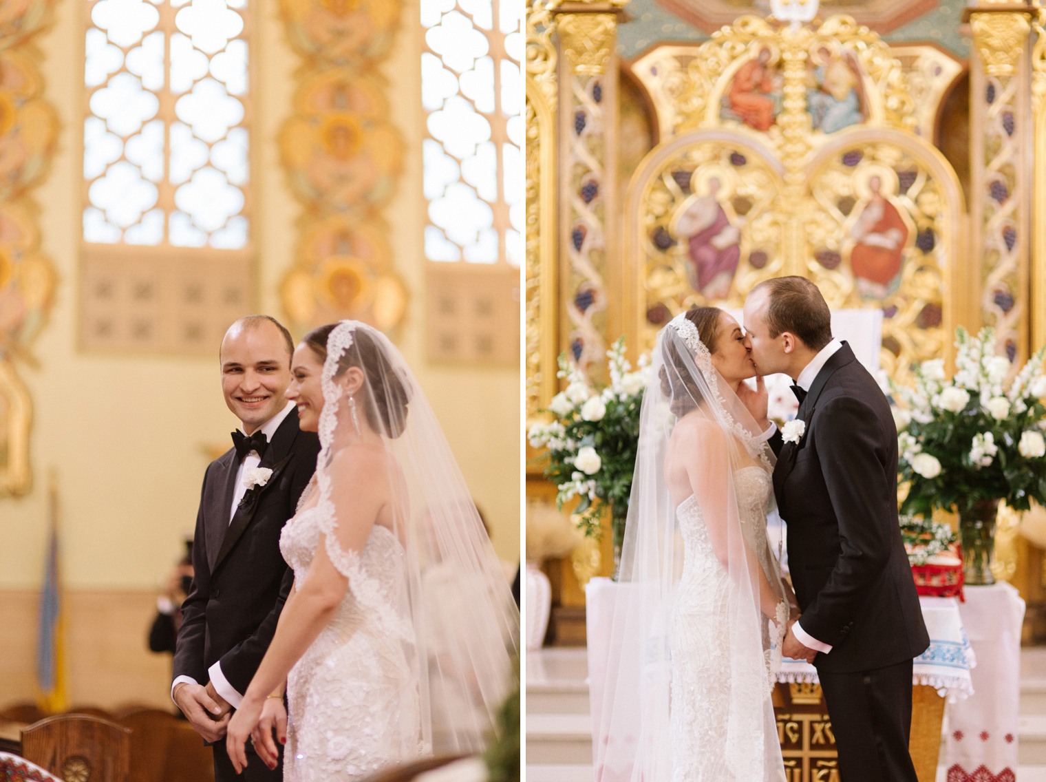 Bride and groom share their first kiss during wedding ceremony at Immaculate Conception Ukrainian Rite Catholic Church in Hamtramck Michigan.
