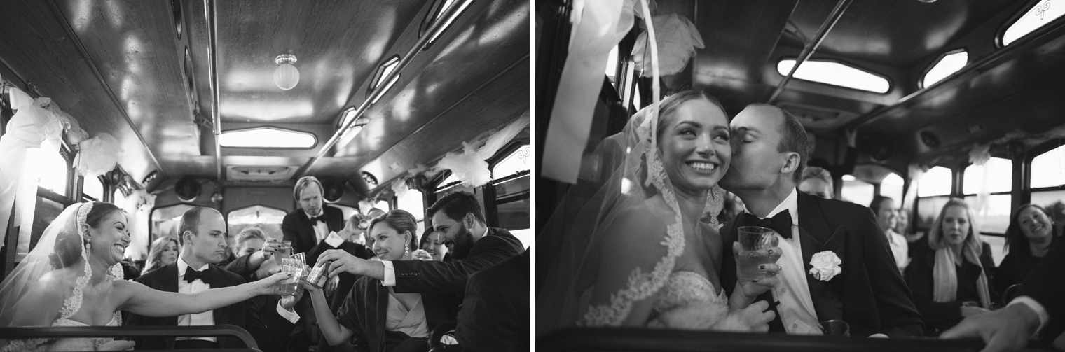 The bride and groom take their wedding party on a trolley ride through Detroit on the wedding day.