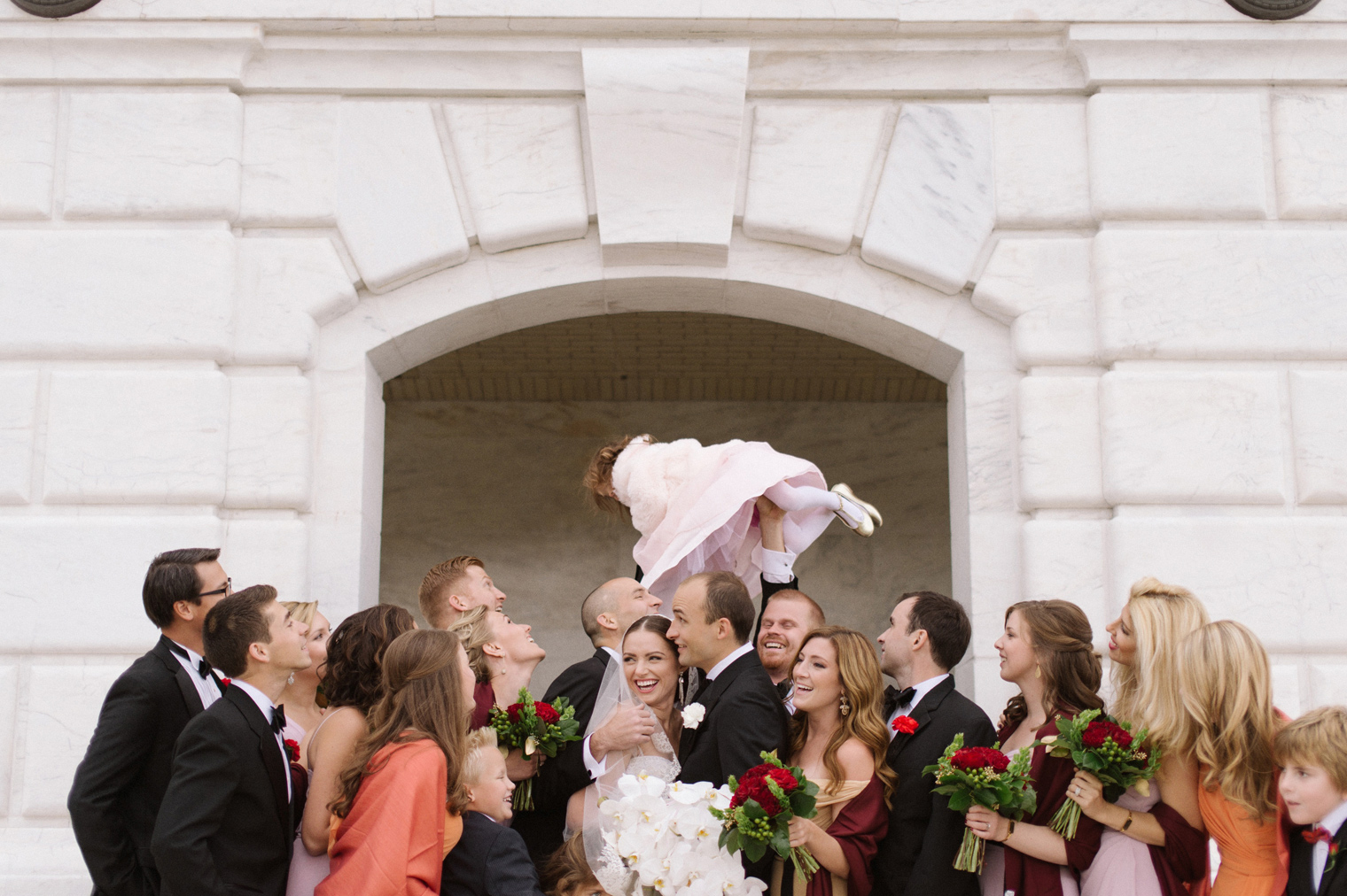Bridal party portraits at the Detroit Institute of Arts by Wedding Photographer Heather Jowett.