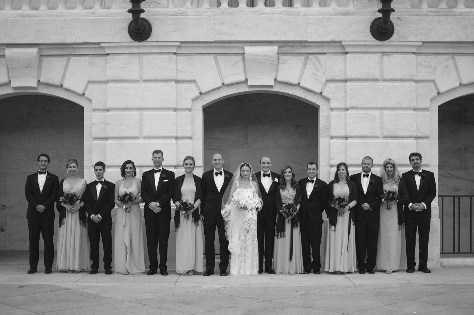 Wedding party portraits at the Detroit Institute of Arts by Wedding Photographer Heather Jowett.