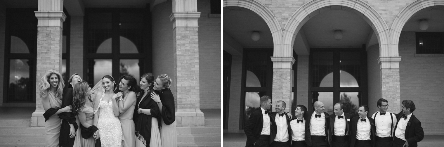 Bridesmaid and groomsmen portraits at the Belle Isle Casino by Wedding Photographer Heather Jowett.