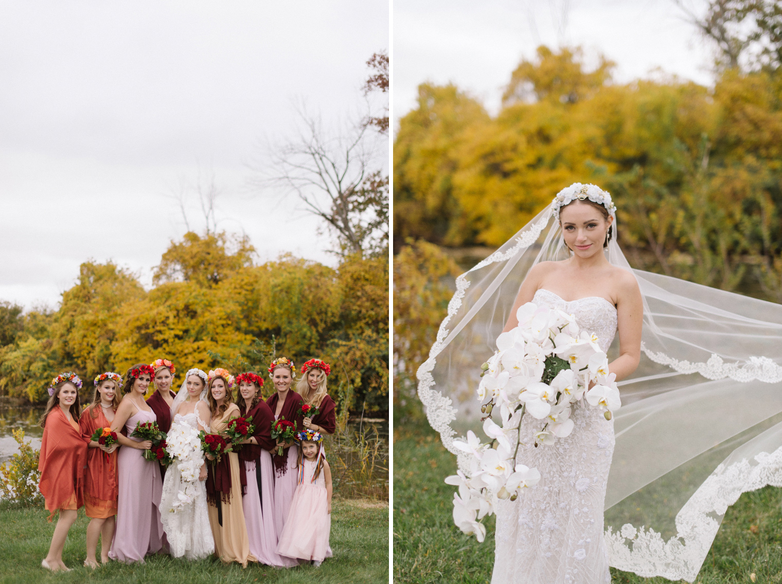 Bride and bridesmaids wear traditional Ukrainian wedding flower crowns.