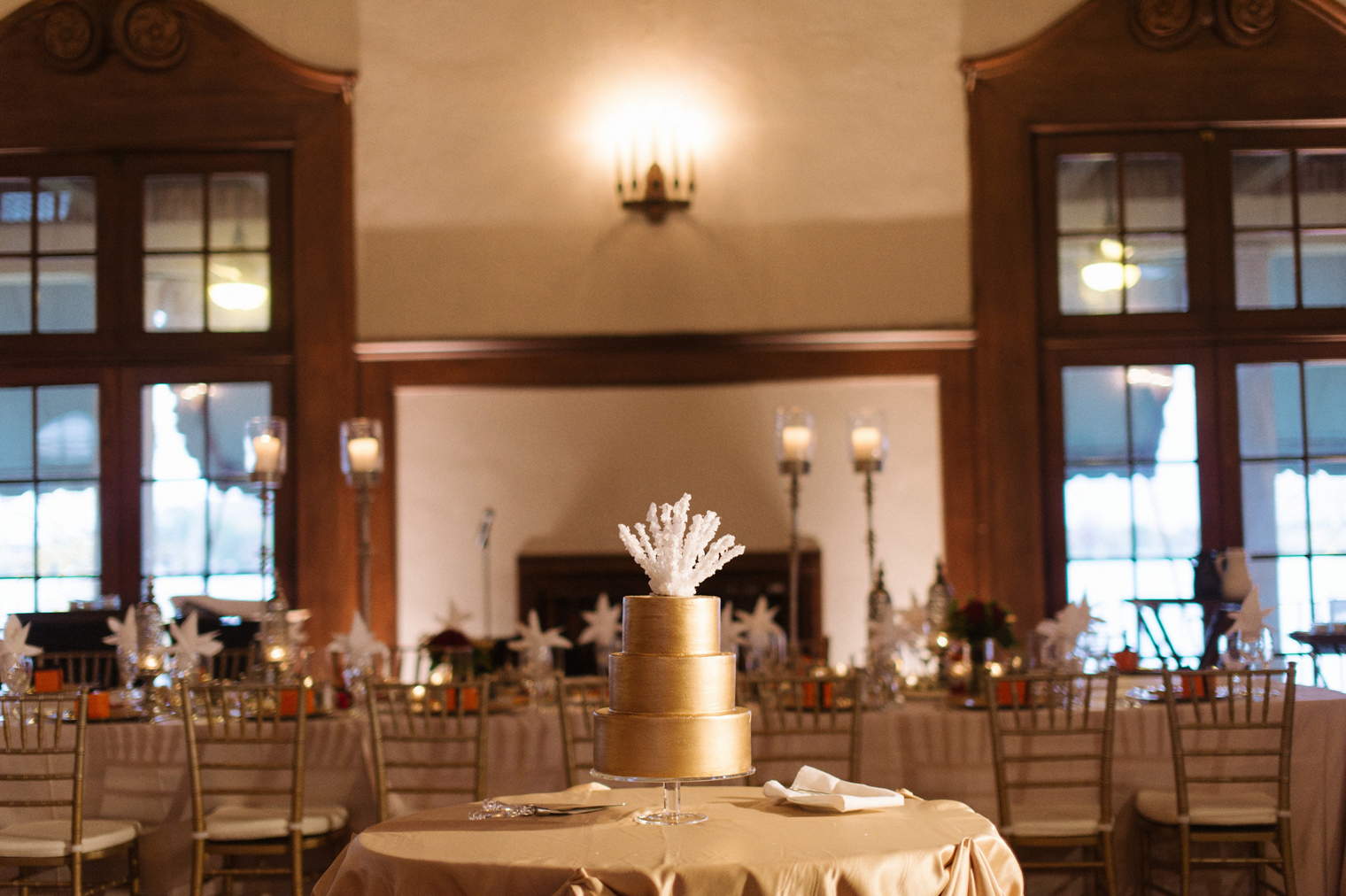 Glamorous gold wedding cake at a timeless Detroit Yacht Club black tie wedding.