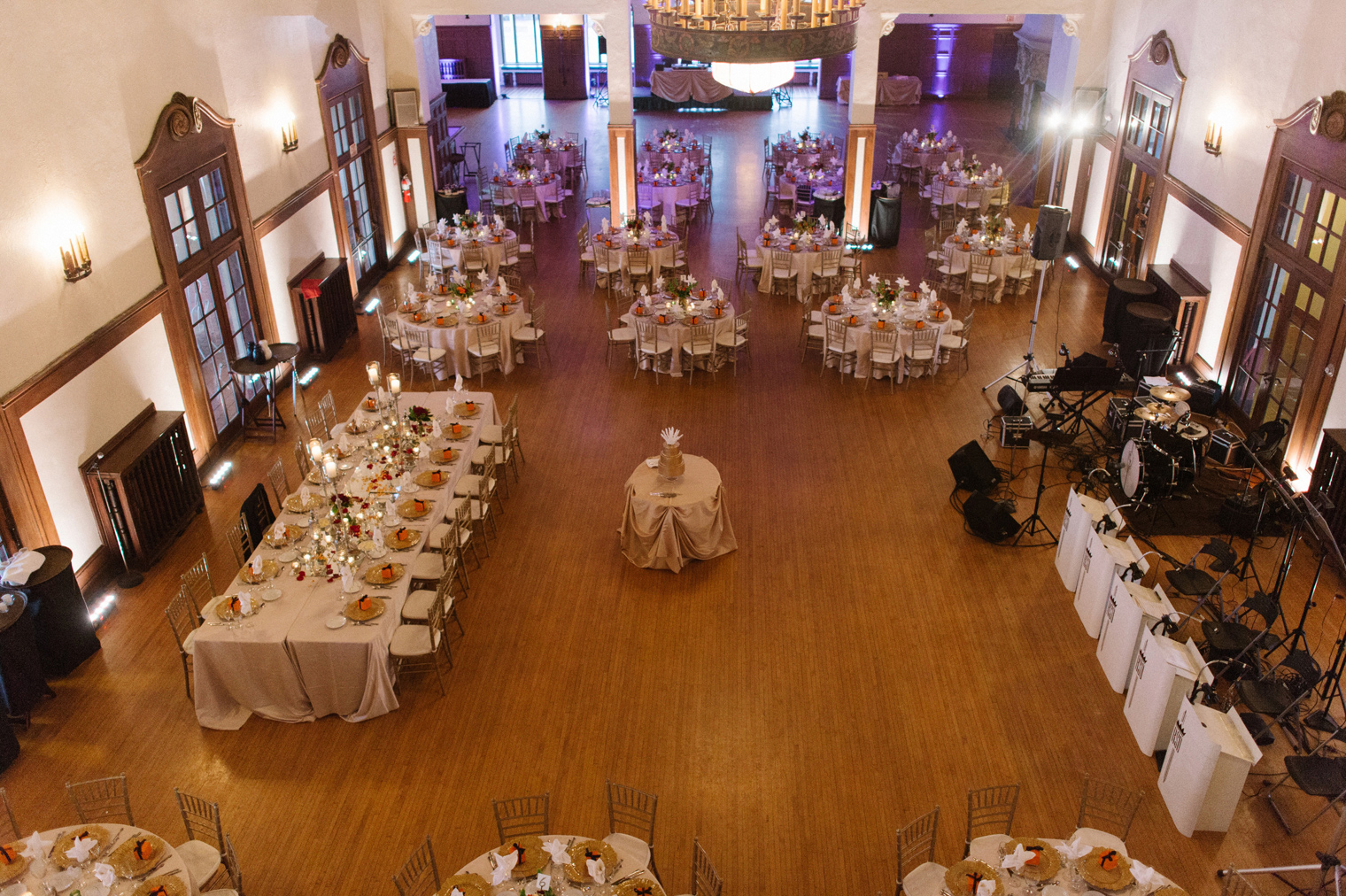 The ballroom at the Detroit Yacht Club ready for a black tie wedding.