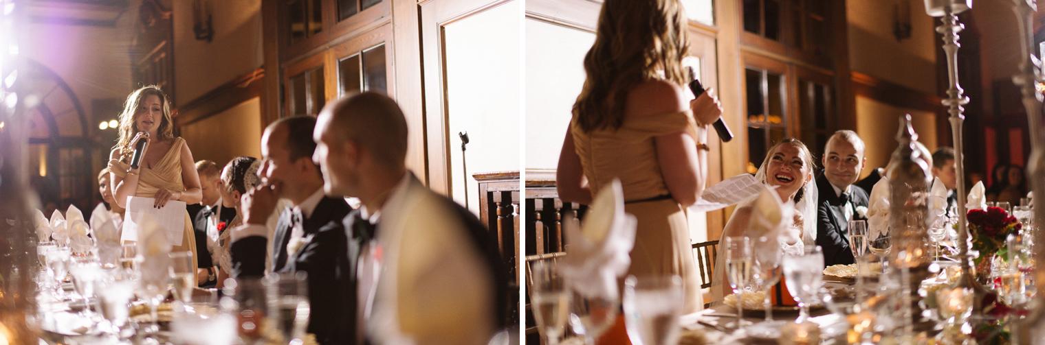 Maid of honor shares a heartfelt toast during a Detroit Yacht Club wedding reception by Photographer Heather Jowett.