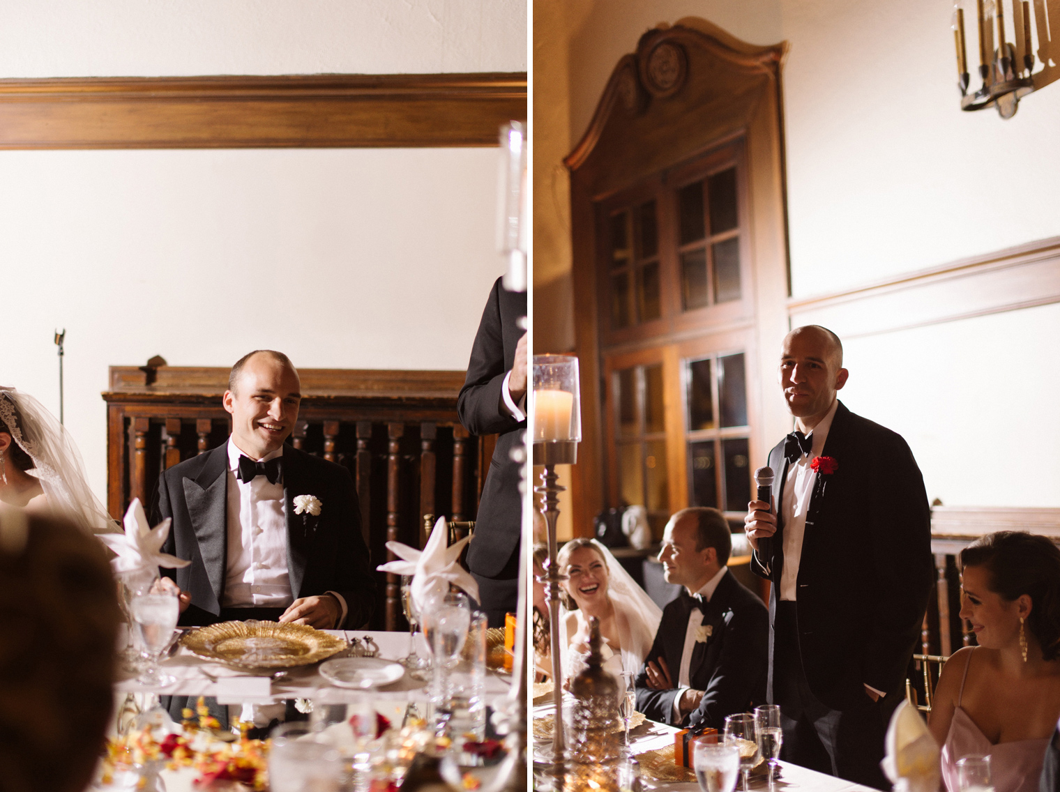 The best man toasts to his brother during a Detroit Yacht Club wedding reception by Photographer Heather Jowett.