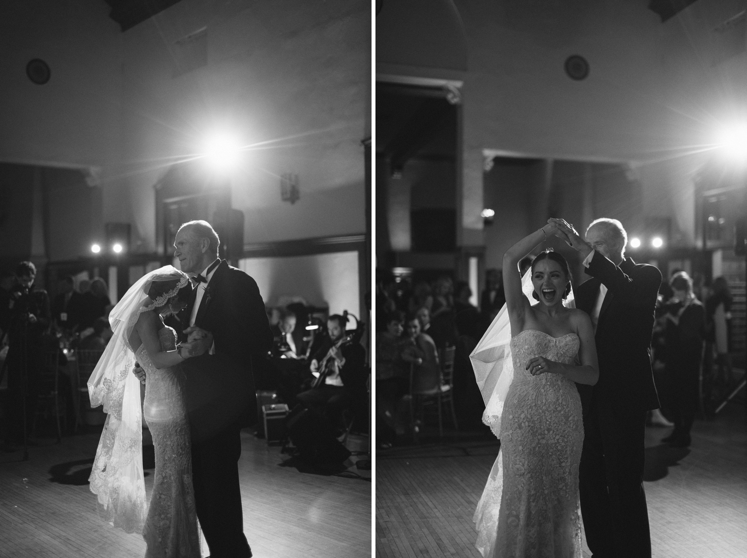 A bride shares a dance with her father at her Detroit Yacht Club wedding by photographer Heather Jowett.
