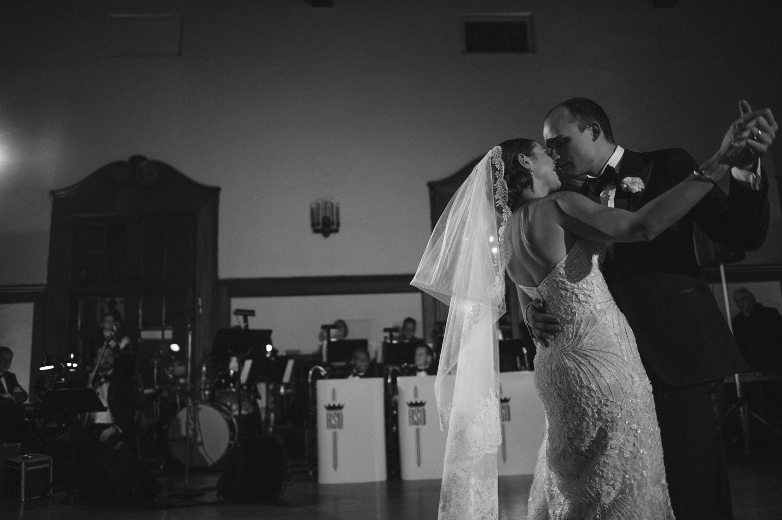 The bride and groom share their first dance at the Detroit Yacht Club wedding by Michigan photographer Heather Jowett.