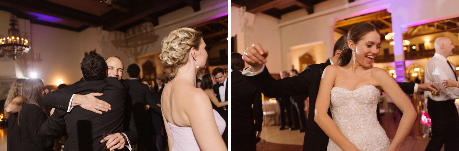 Wedding guests dance the night away at a black tie Detroit Yacht Club wedding by Michigan Photographer Heather Jowett.