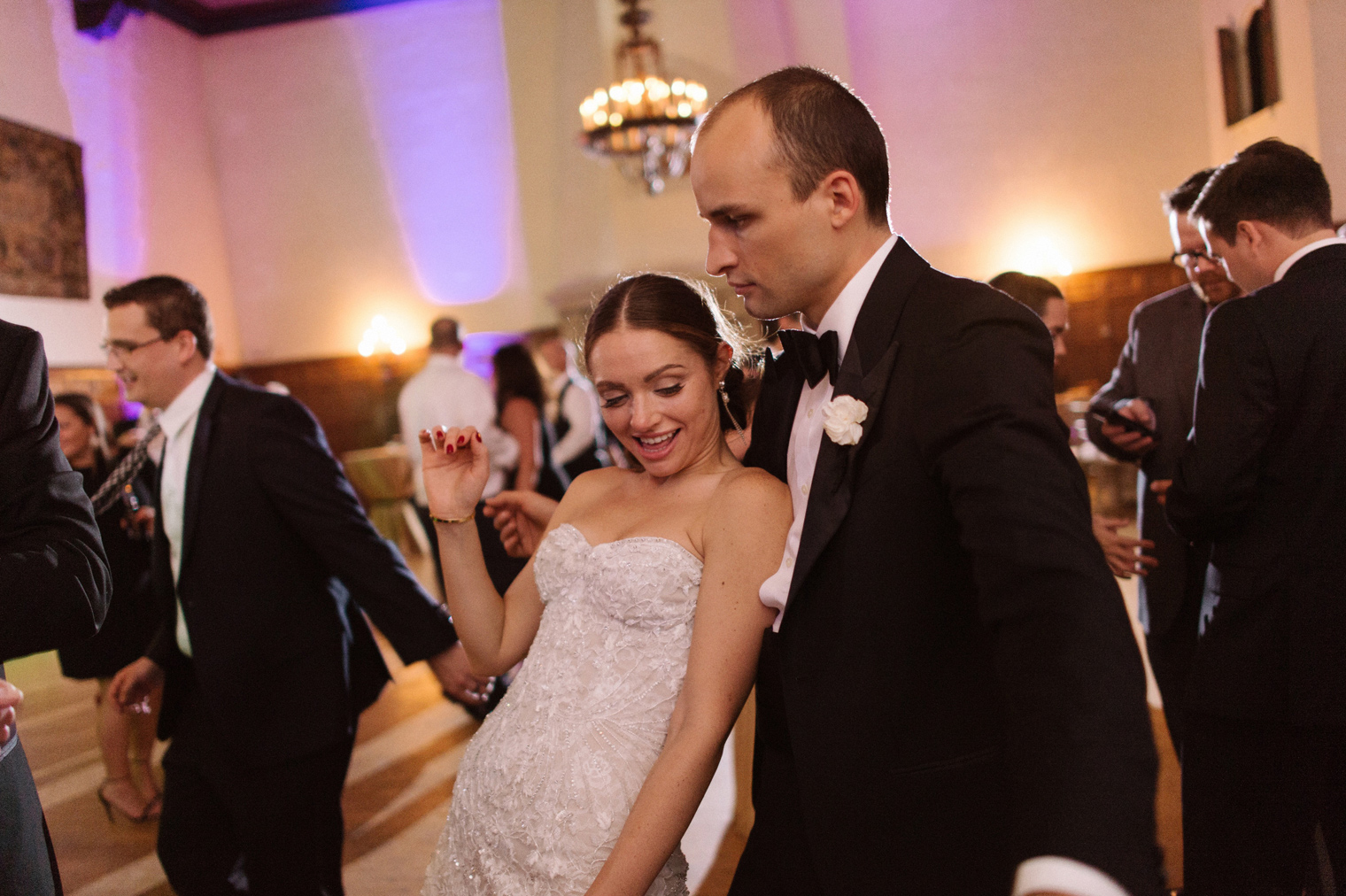 Bride and groom dance the night away at a black tie Detroit Yacht Club wedding by Michigan Photographer Heather Jowett.