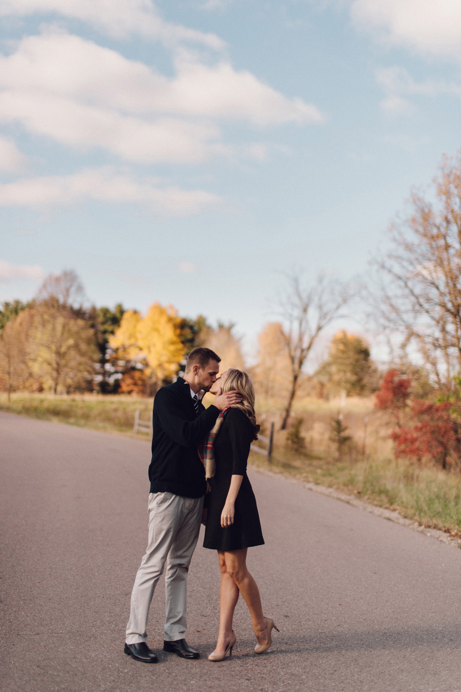 Fall couples photography at the Ann Arbor Botanical Gardens.