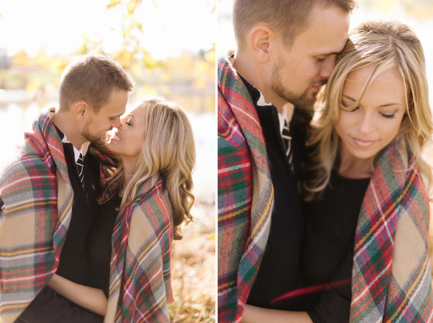 Couple wraps up in a plaid scarf at a fall couples photography session at the Ann Arbor Botanical Gardens.