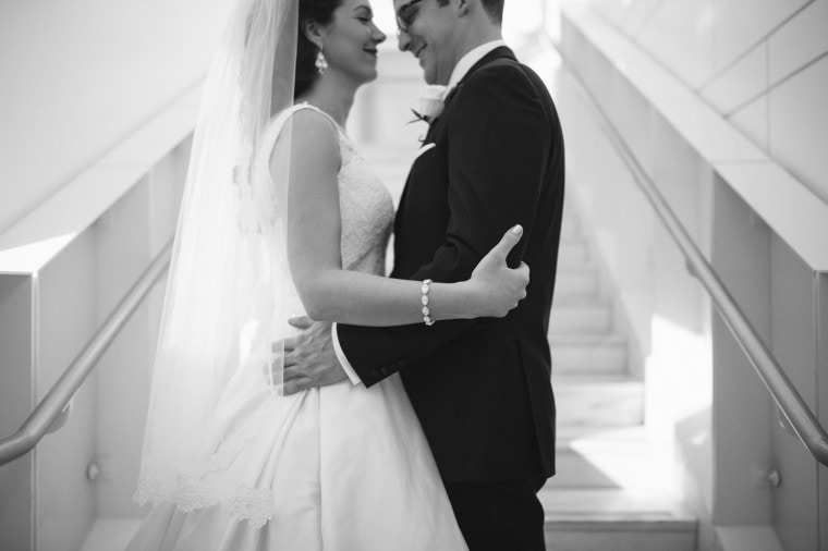 Bride and groom portrait at the DIA by wedding photographer Heather Jowet