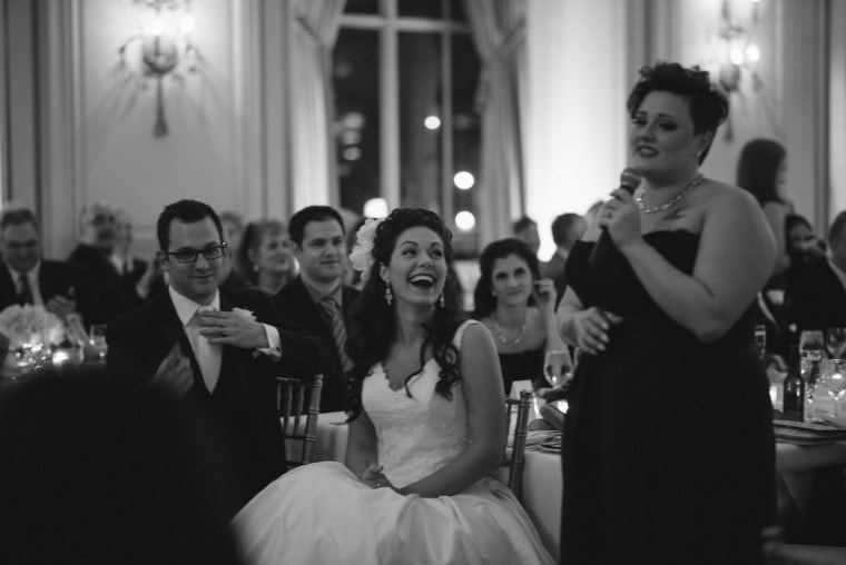The maid of honor giving a toast