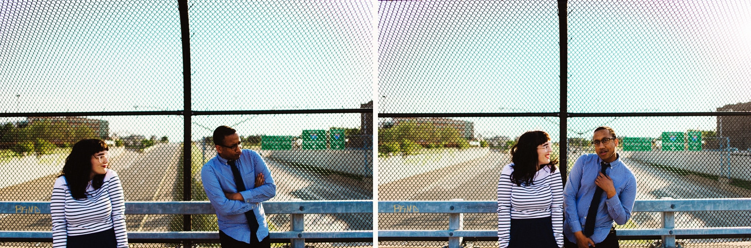 couples portrait on a detroit overpass