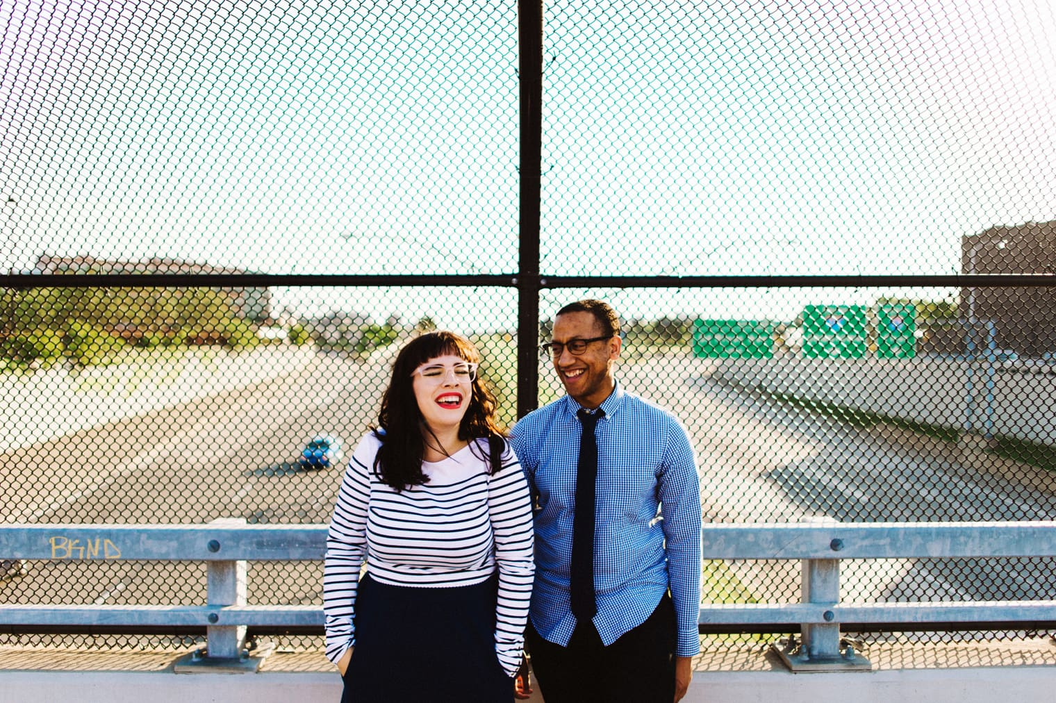 engagement portrait on a detroit overpass