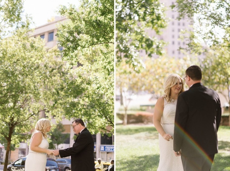 Bride and groom share a first look in Detroit before their wedding at the Gem Theater by wedding photographer Heather Jowett.