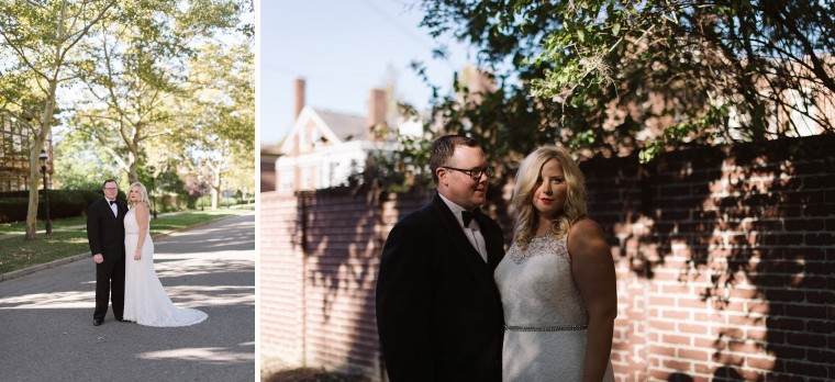 Bride and groom take portraits in Detroit's Indian Village Neighborhood.