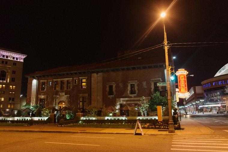 Gem Theater at night