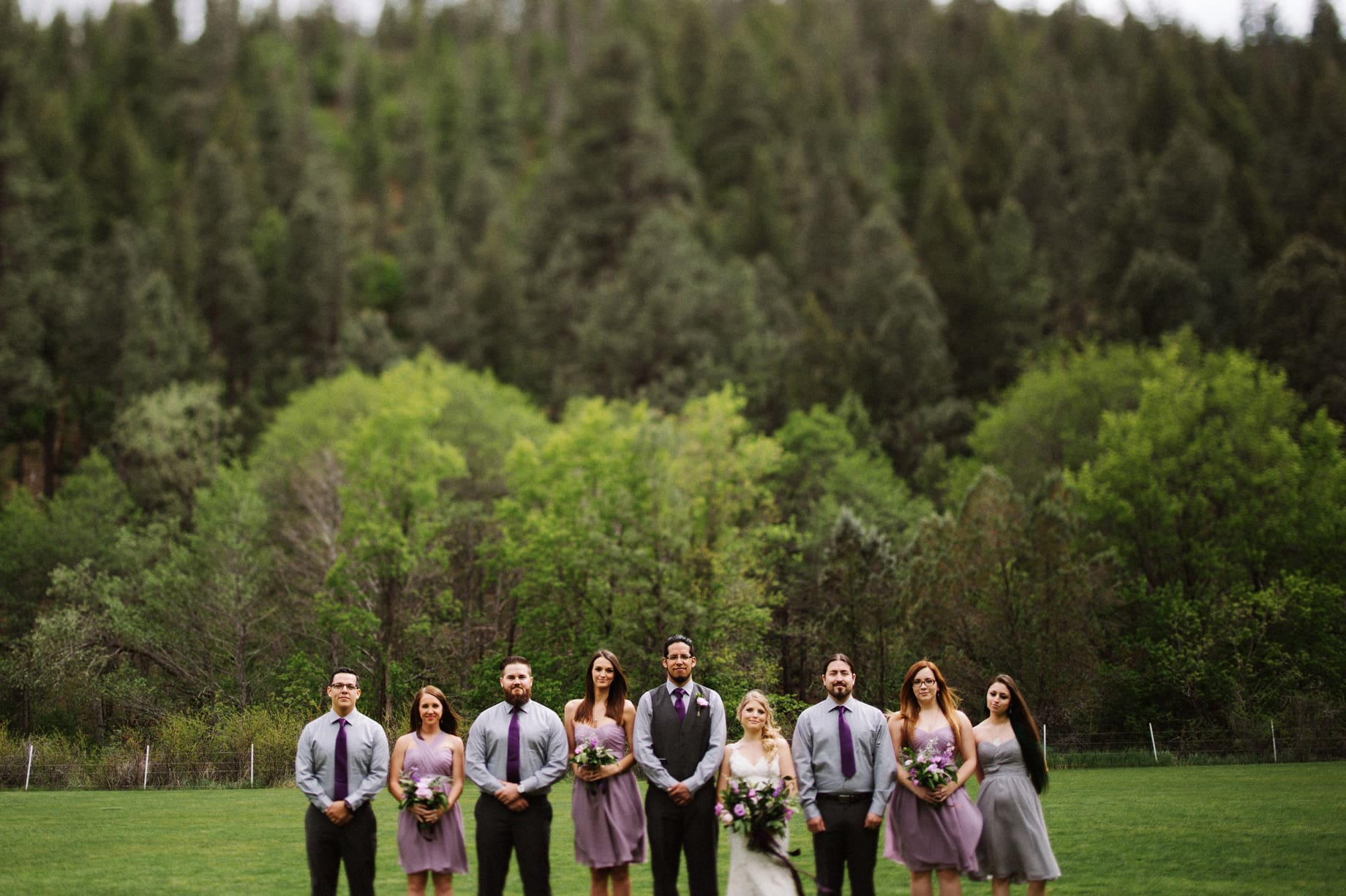 purple wedding party outfit