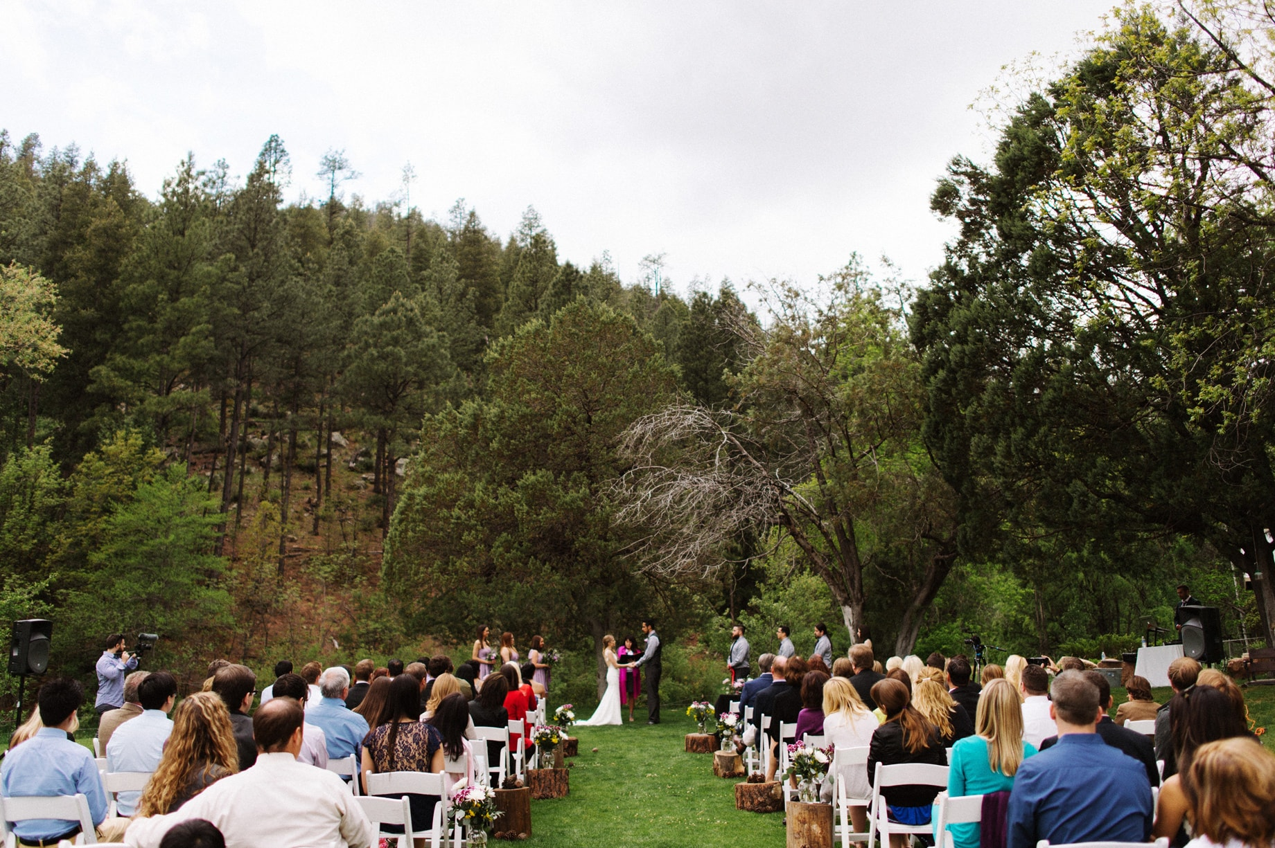 outdoor ceremony among pine trees