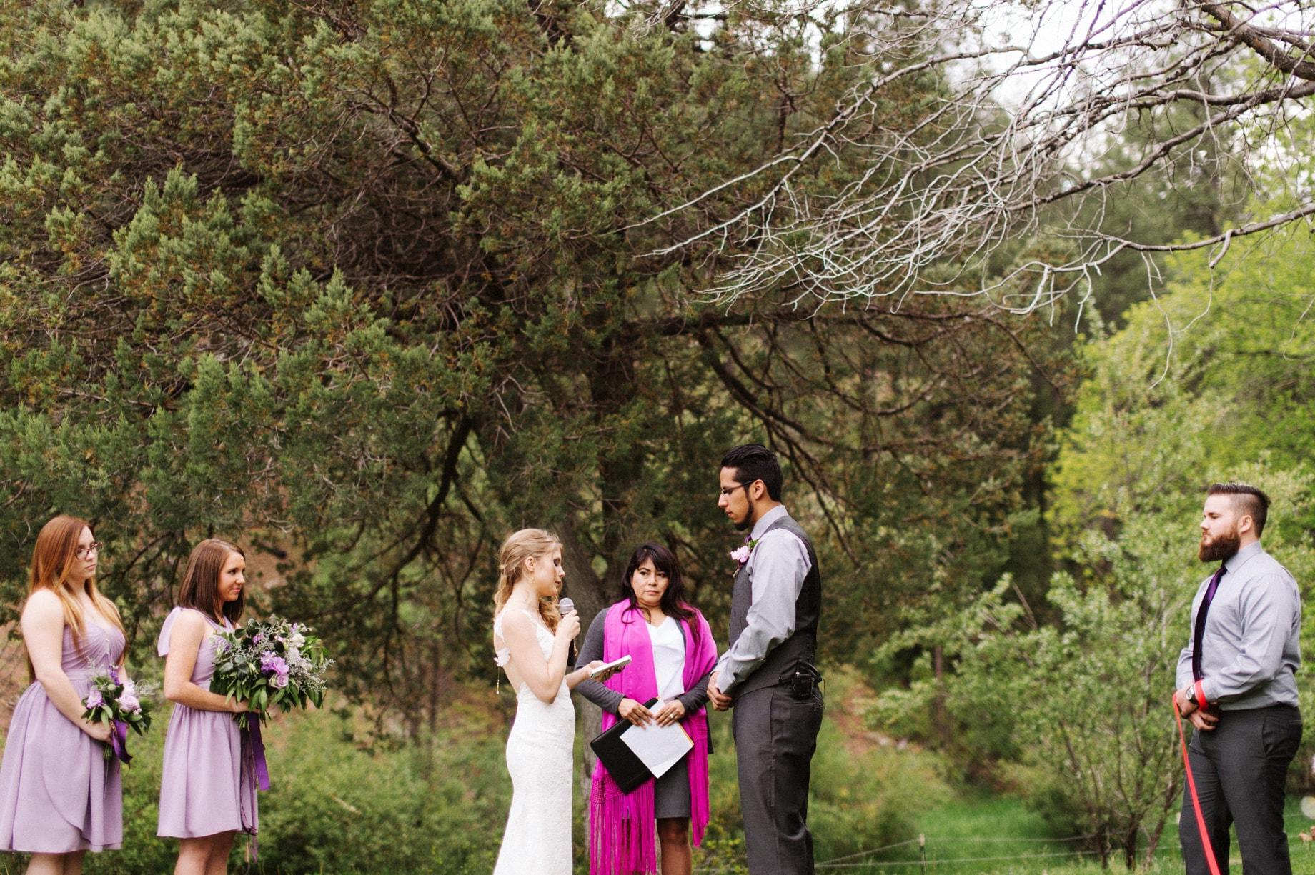outdoor camp wedding ceremony