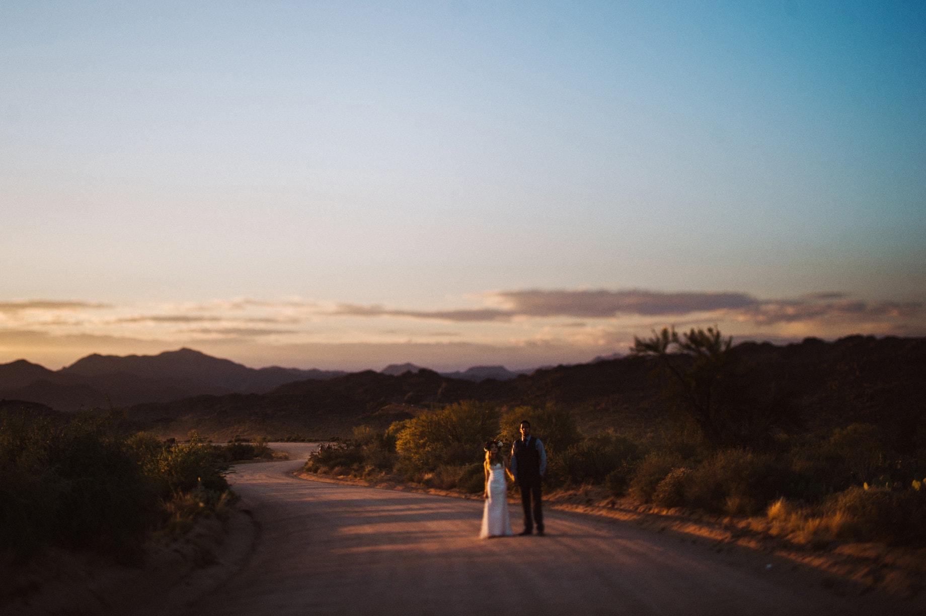 arizona sunset wedding portrait