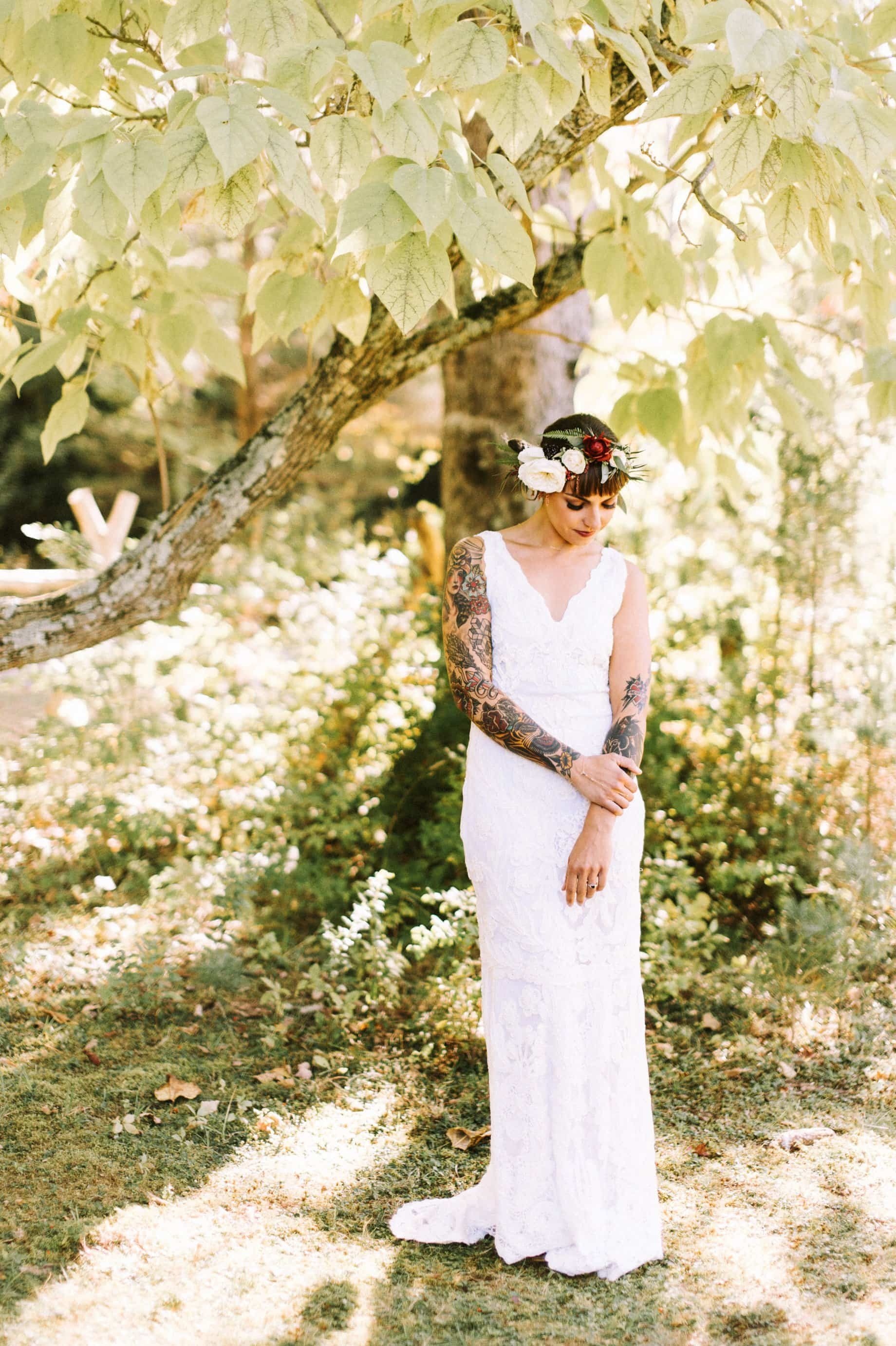 bride with bhldn dress and flower crown
