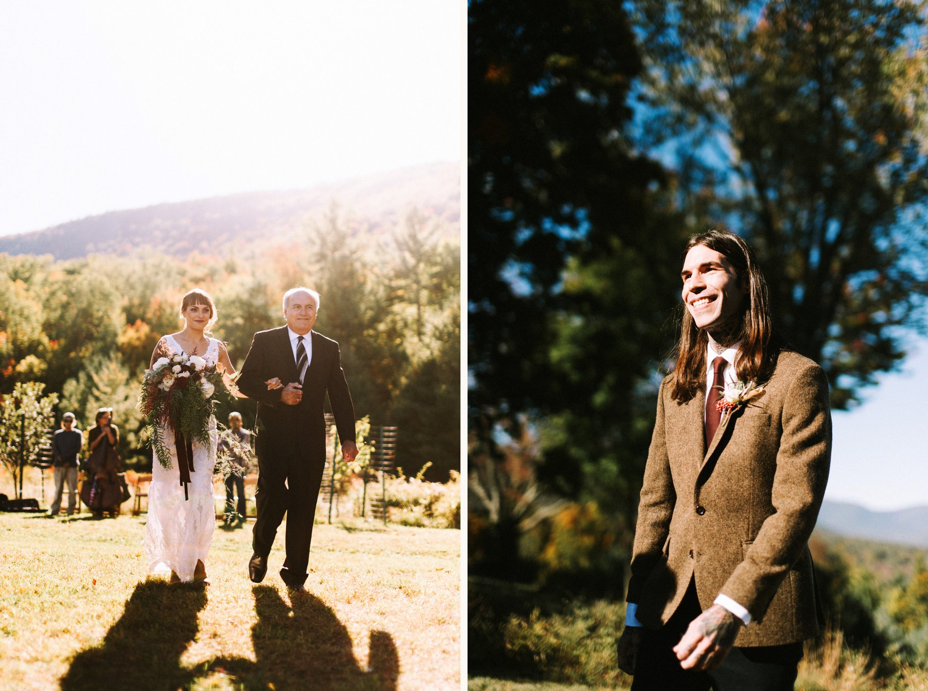 fall wedding ceremony at ashokan dreams