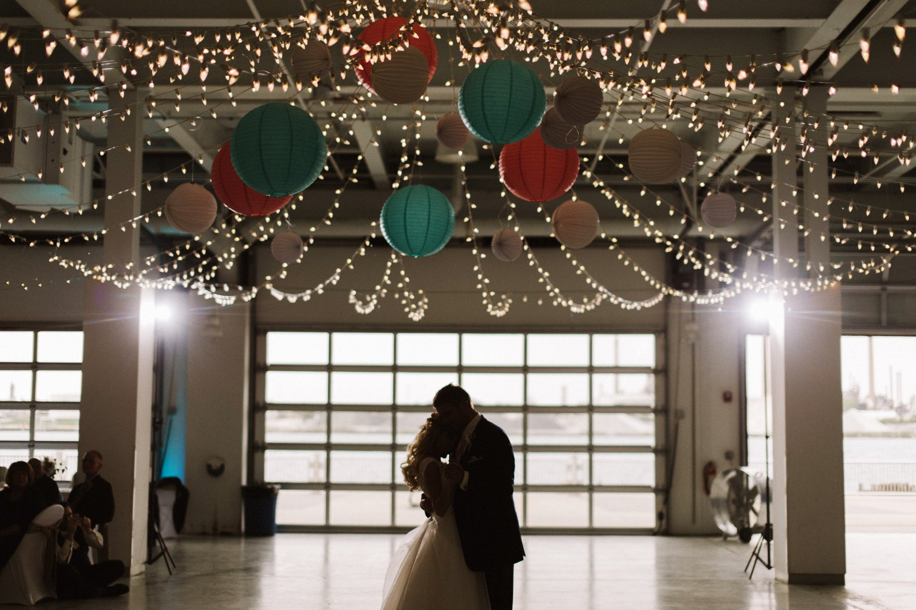 first dance under the lights at the bean dock