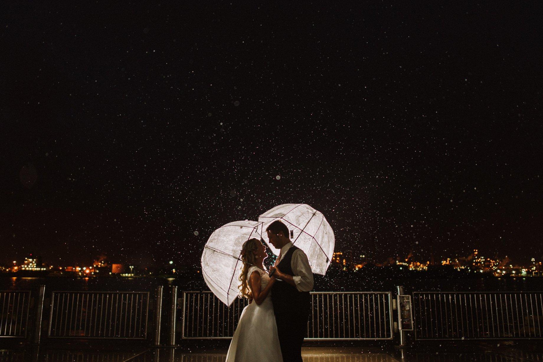 rainy wedding portrait on saint clair river