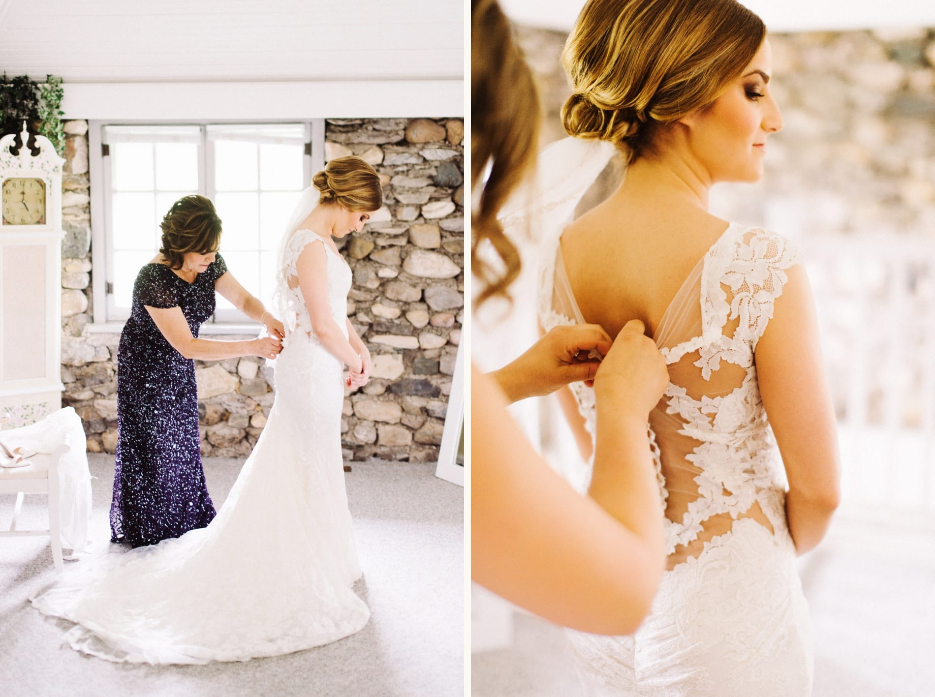 mother helps bride into dress
