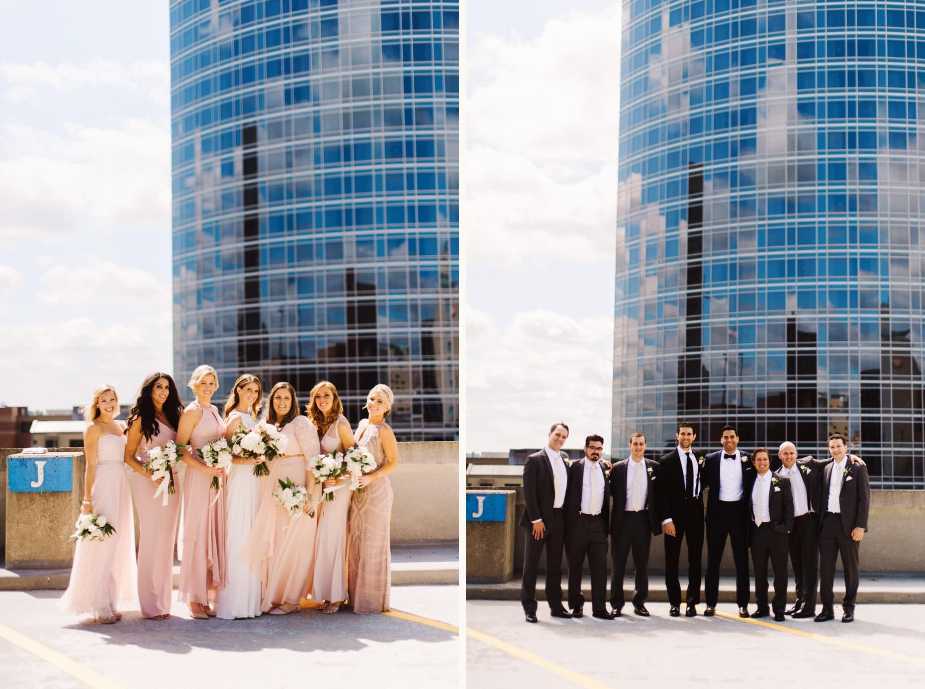 bridesmaids in pink and groomsmen in tuxes