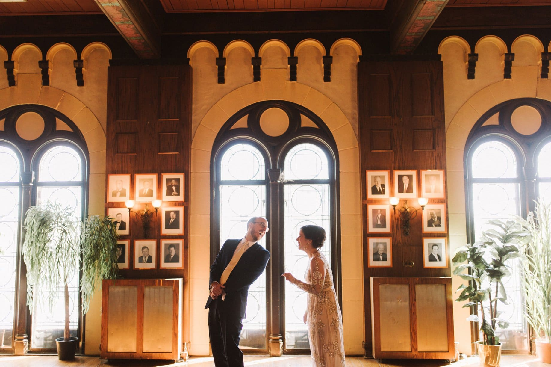 detroit wedding photographer heather jowett captures a first look between a bride and groom at the players playhouse