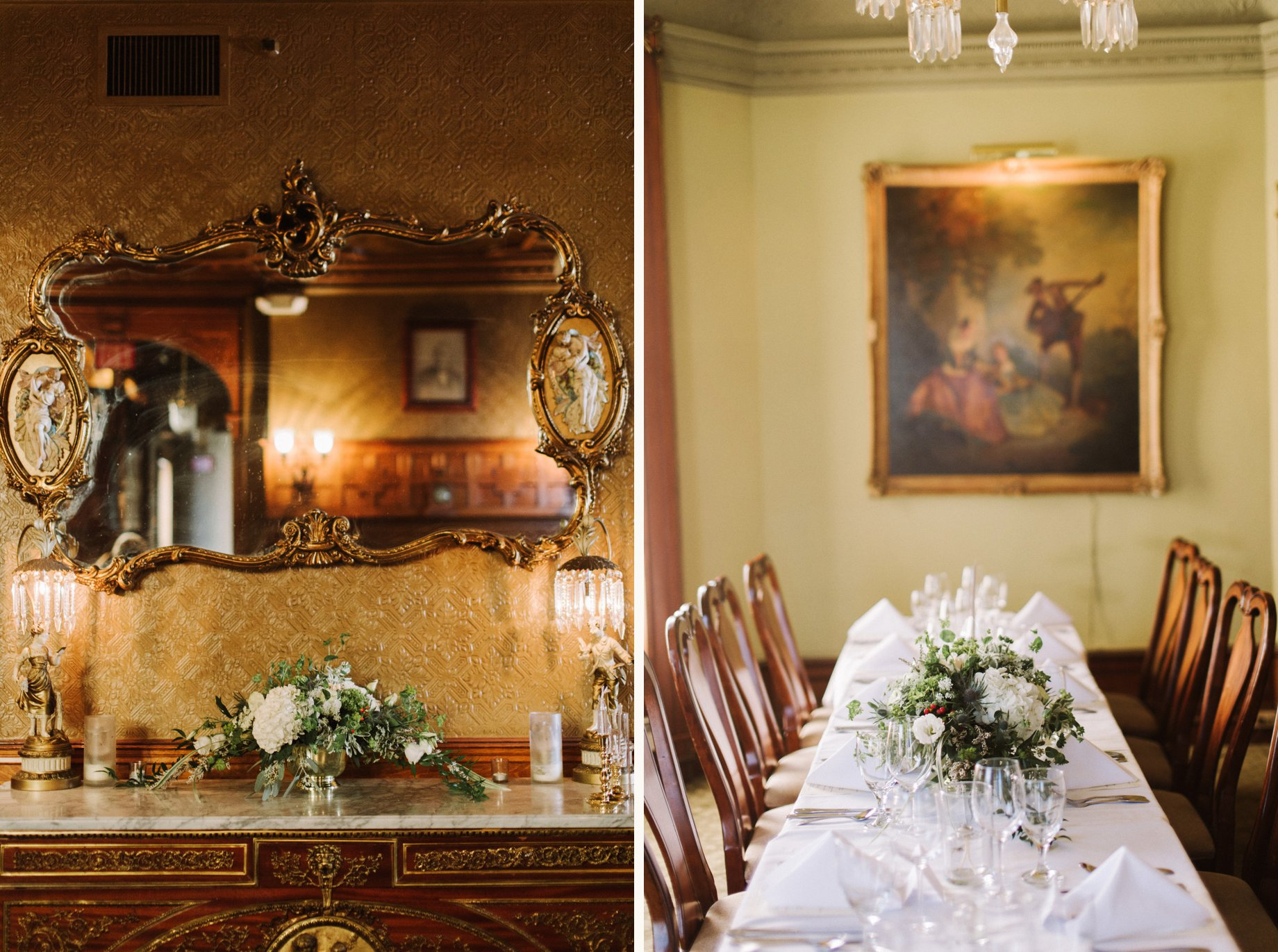classic wedding decorations at the Whitney mansion