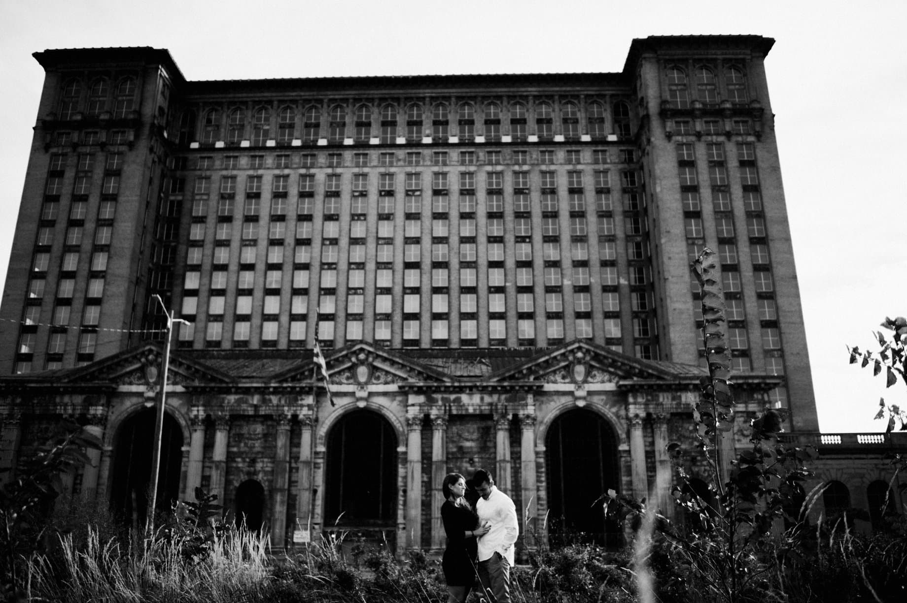 engagement session in detroit at Michigan central station in Corktown
