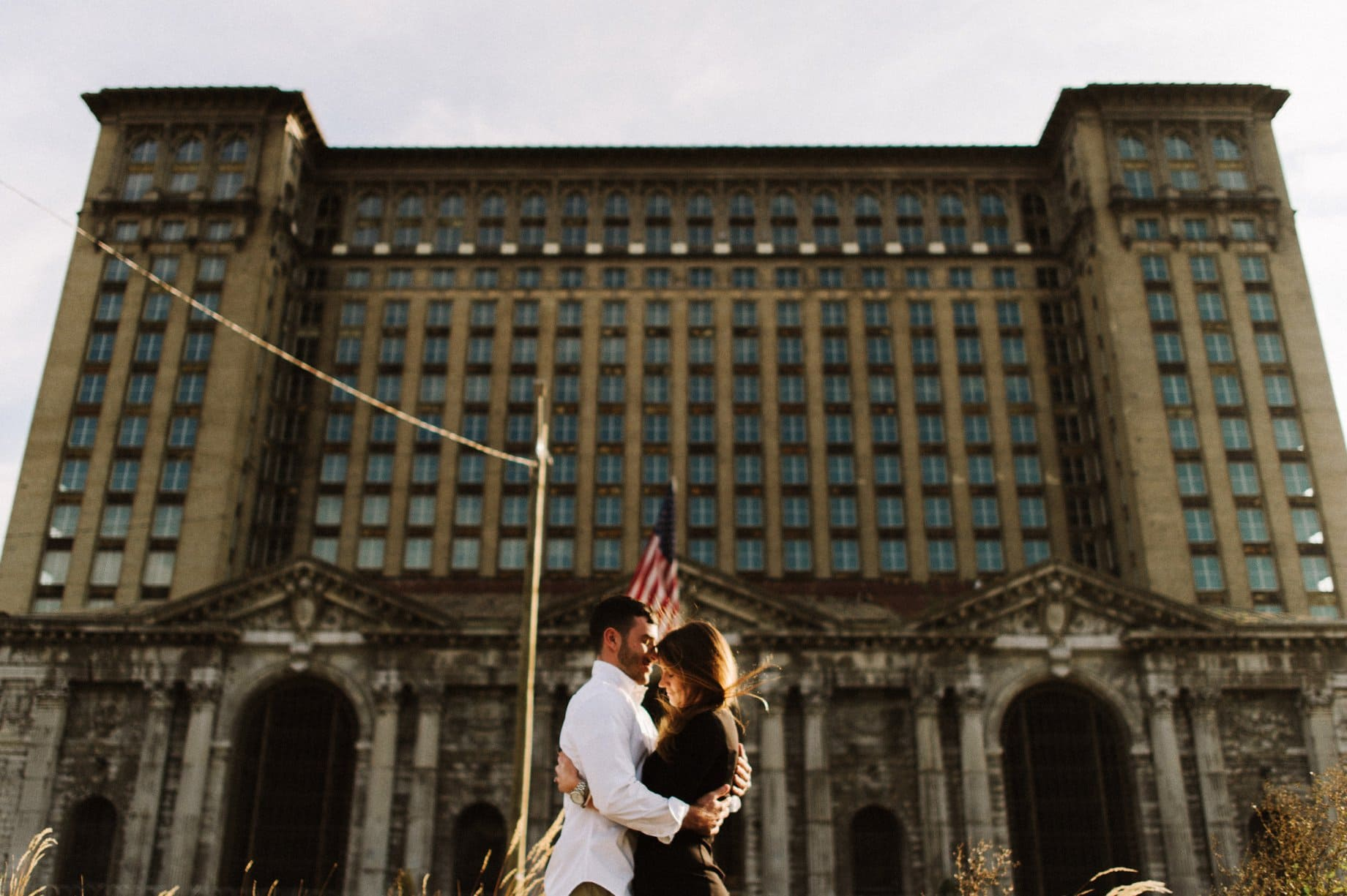 Michigan central station engagement photography