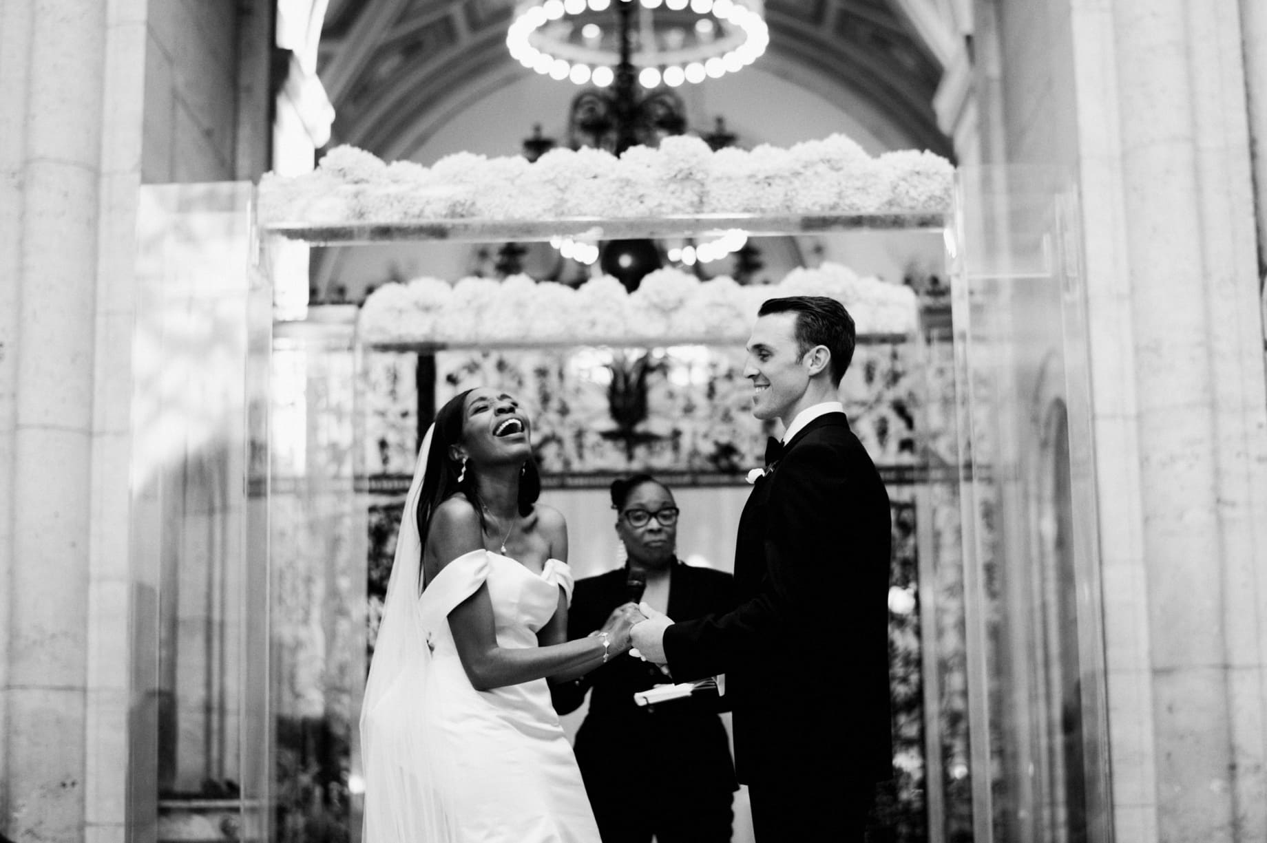 laughs during detroit institute of arts wedding ceremony