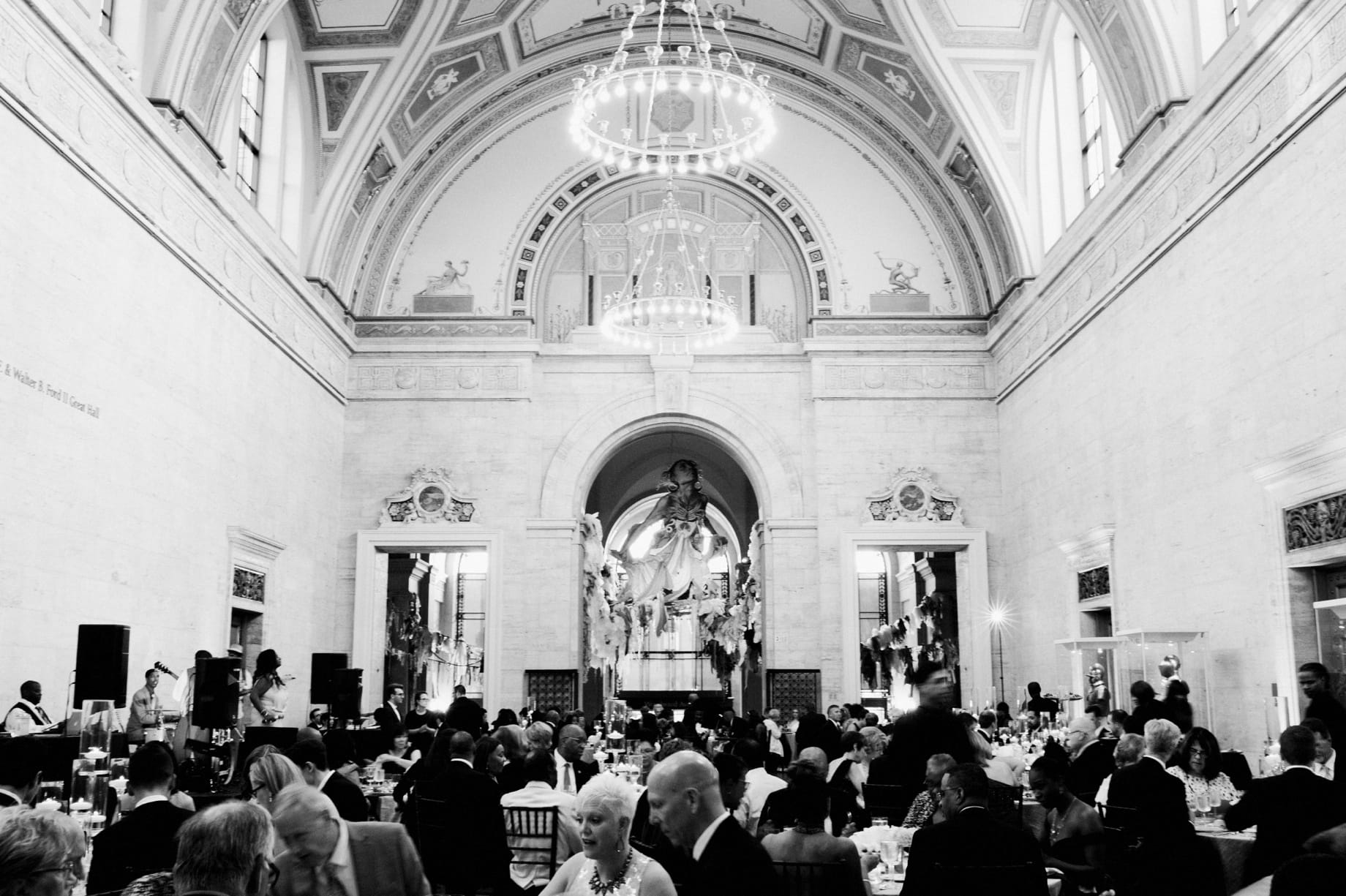 wedding reception in the grand hall of the DIA