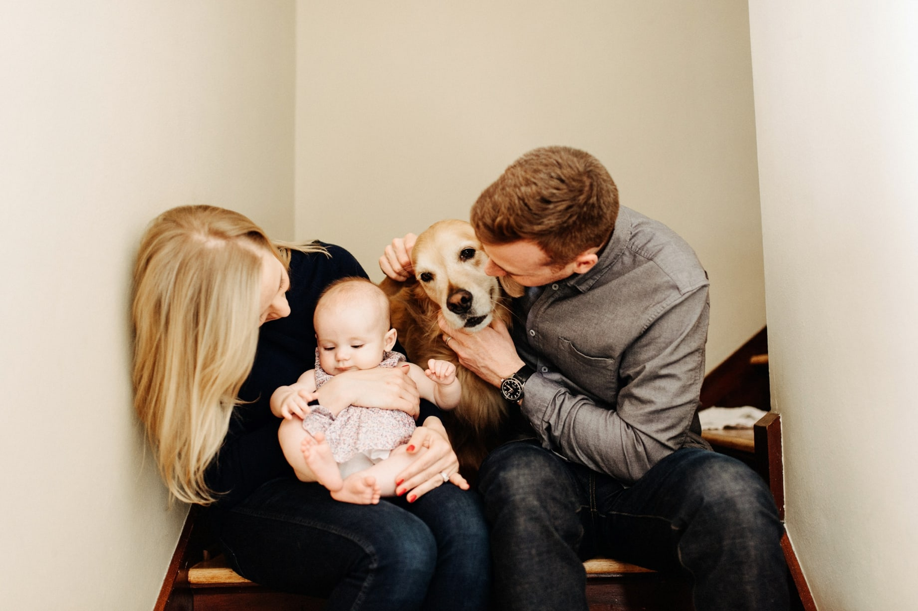family session with dog and baby