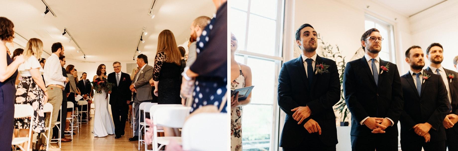 modern art gallery wedding ceremony