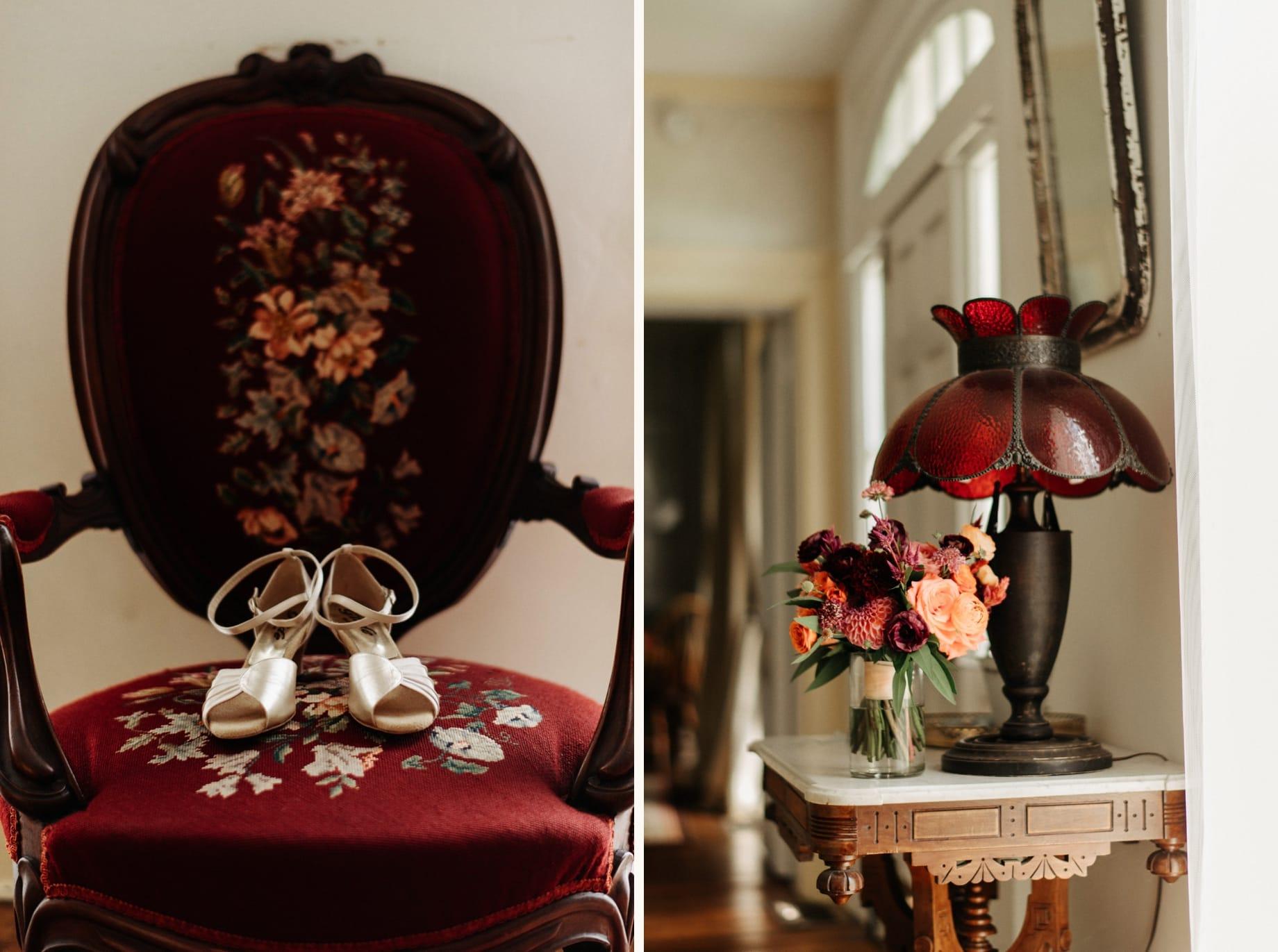 dark red and orange wedding bouquet