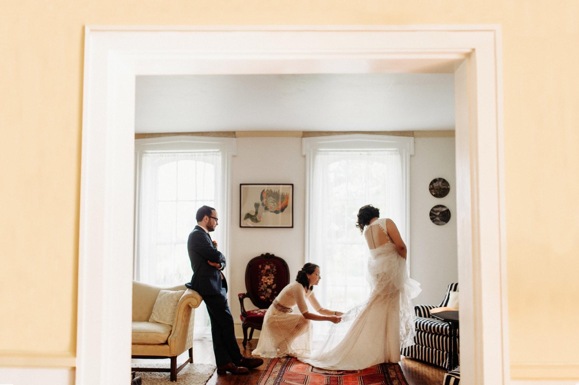 mother of the bride bustleling dress
