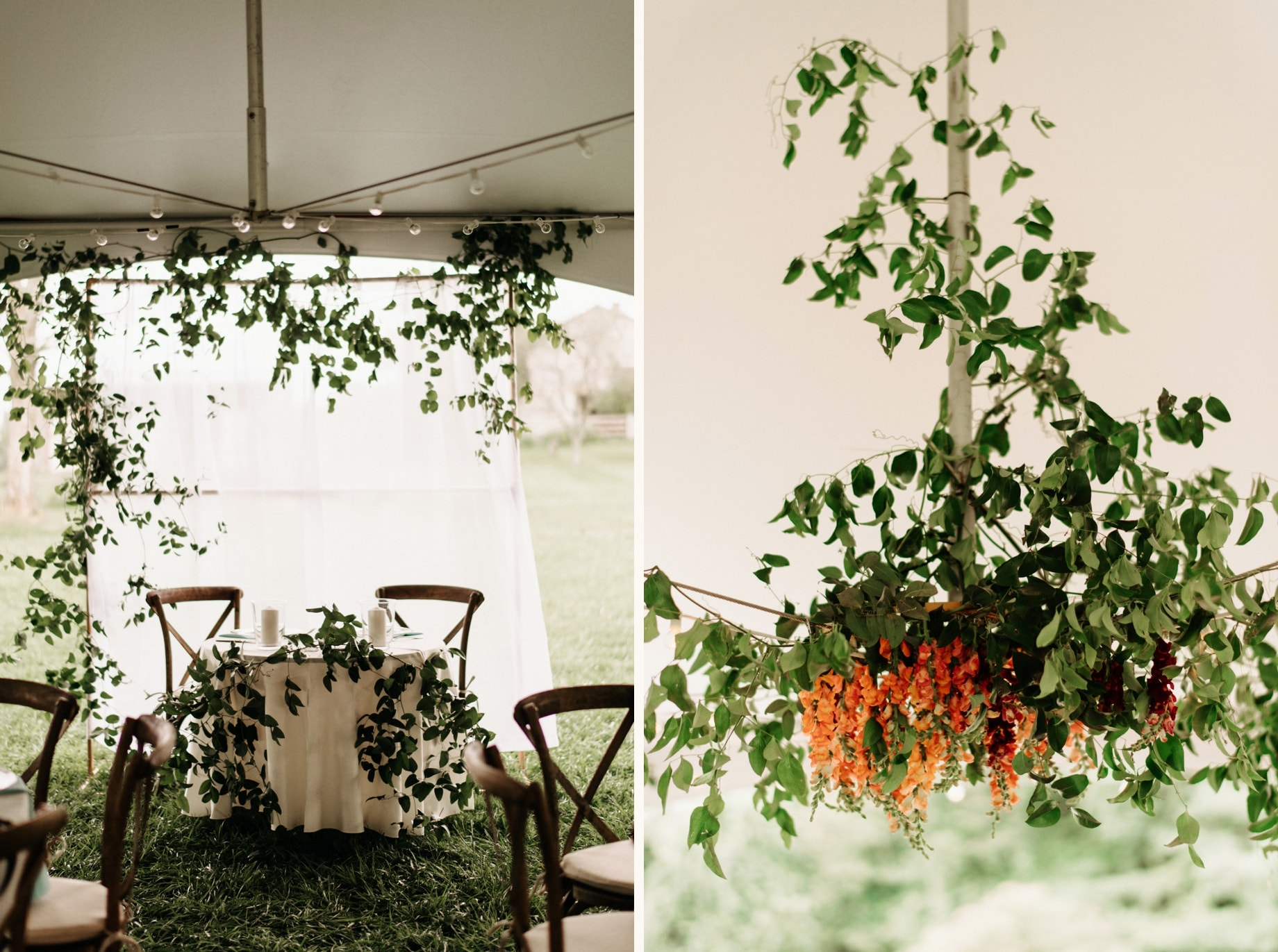 floral installations with orqange and red