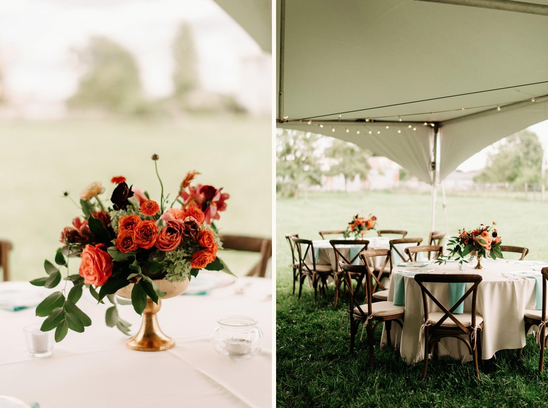 dahlias and rose centerpieces