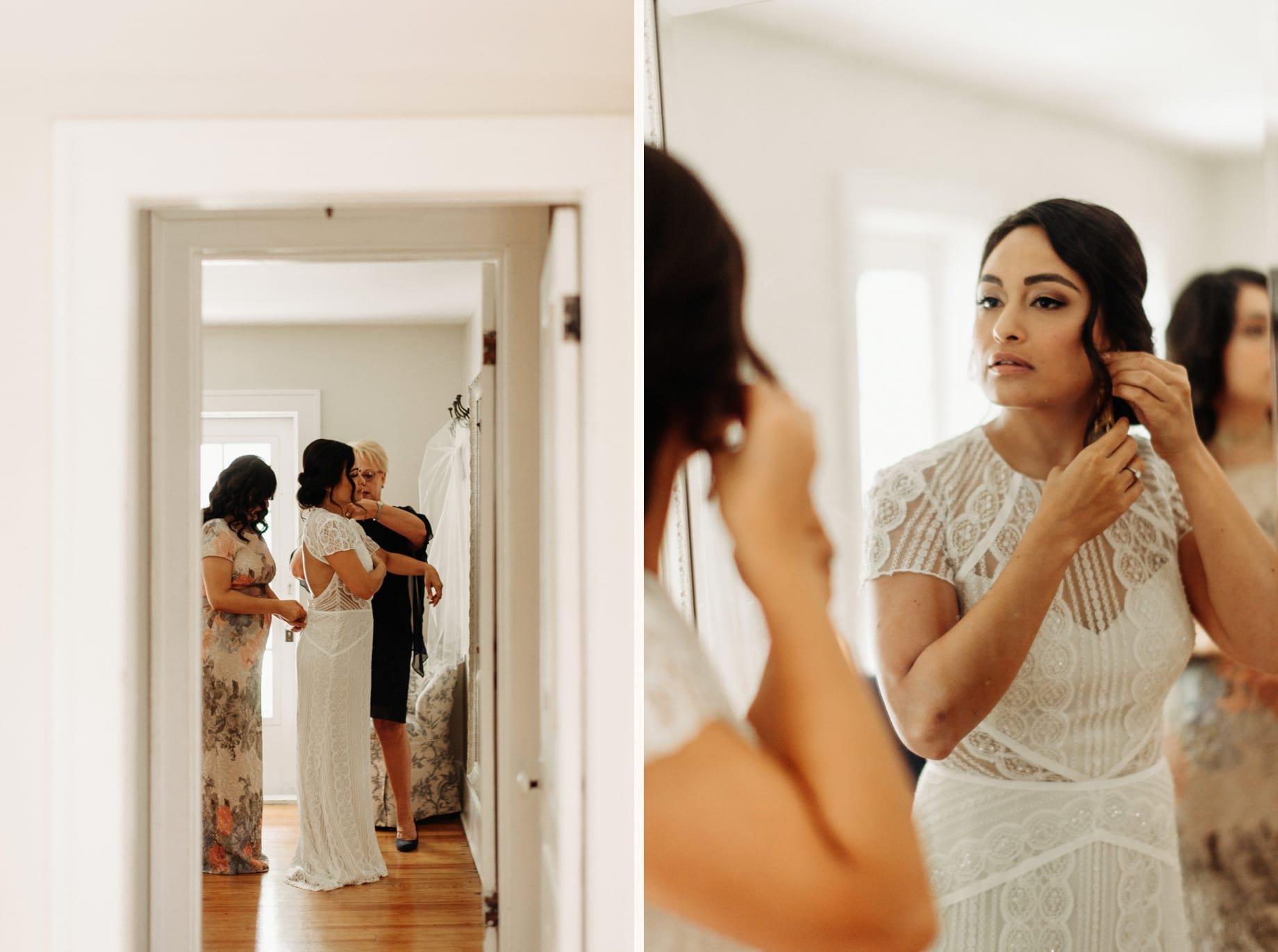 bride getting dressed at the farmhouse at zingermans cornman farms
