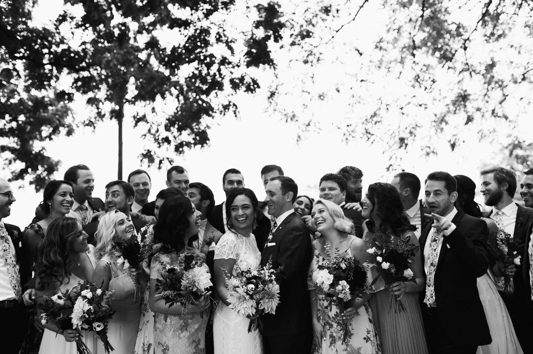 modern wedding party at a zingermans cornman farms wedding