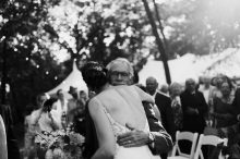 father giving his daughter a hug on her wedding day